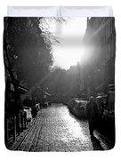 Evening Walk In Paris Bw Squared Duvet Cover