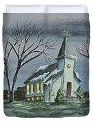 Evening Worship In Winter Duvet Cover