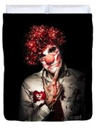 Evil Blood Stained Clown Contemplating Homicide Duvet Cover