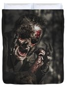 Evil Male Zombie Screaming Out In Bloody Fear Duvet Cover