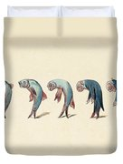 Evolution Of Fish Into Old Man, C. 1870 Duvet Cover