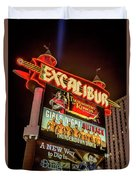 Excalibur Casino Sign Night Duvet Cover