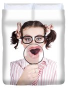 Excited Nerd Girl With A Big Idea Duvet Cover
