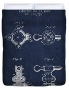 Exercise Machine Patent From 1879 - Navy Blue Duvet Cover
