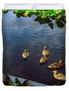 Exotic Birds Of America Ducks In A Pond Duvet Cover