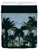 Exotic Palm Trees Silhouettes Water Color Duvet Cover