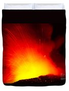Exploding Lava At Night Duvet Cover