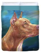 Expressive Painting Of A Red Nose Pit Bull On Blue Background Duvet Cover