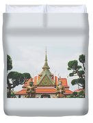 Exquisite Details On The Building Of Wat Arun In Bangkok, Thailand Duvet Cover