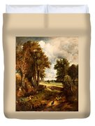 Extensive Landscape With Boy Drinking Water Duvet Cover