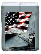 F-14 And Flag Duvet Cover