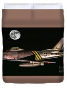 F-86 And The Moon Duvet Cover