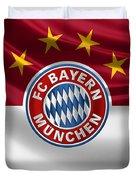 F C Bayern Munich - 3 D Badge Over Flag Duvet Cover