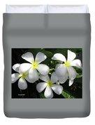 F1 Plumeria Frangipani Flowers Hawaii Duvet Cover