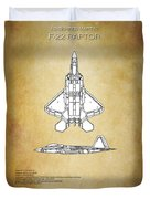 F22 Raptor Blueprint Duvet Cover