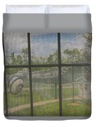 Prison Yard With Razor Wire, Guard House And Satellite Dish Duvet Cover