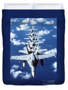 Fa-18c Hornet Aircraft Fly In Formation Duvet Cover