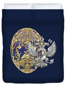 Faberge Tsarevich Egg With Surprise On Blue Velvet Duvet Cover
