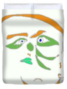 Face 1 On White Duvet Cover