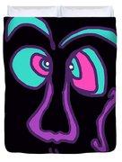 Face 3 On Black Duvet Cover