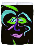 Face 6 On Black Duvet Cover