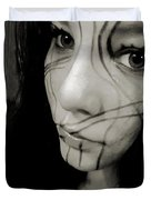 Face Lines Duvet Cover