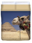 Face Of A Camel In Front Of A Pyramid Duvet Cover