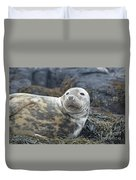 Face Of A Gray Seal Duvet Cover