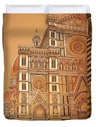 Faced Of Florence Cathedral  Duvet Cover