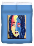 Facial Or Woman With Green Eyes Duvet Cover