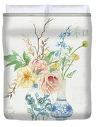 Faded Glory Chinoiserie - Floral Still Life 2 Blush Gold Cream Duvet Cover