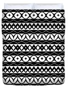 Fair Isle Black And White Duvet Cover by Rachel Follett