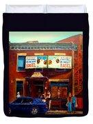 Fairmount Bagel By Montreal Streetscene Painter Carole  Spandau Duvet Cover