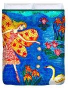 Fairy Feeding Swan Duvet Cover