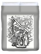 Fairy Stucco House With Flowers Duvet Cover