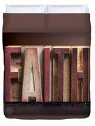 Faith - Antique Letterpress Letters Duvet Cover