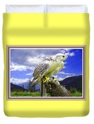 Falcon Being Trained H B With Decorative Ornate Printed Frame. Duvet Cover