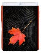 Fall Autumn Leaf On Old Weathered Wood Stump From A Tree Duvet Cover