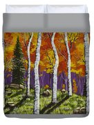 Fall Birch Trees Painting Duvet Cover