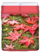 Fall Color Maple Leaves At The Forest In Nikko, Tochigi, Japan Duvet Cover