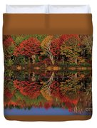 Fall Color Reflected In Thornton Lake Michigan Duvet Cover