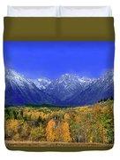 Fall Colored Aspens Grand Tetons Np Duvet Cover