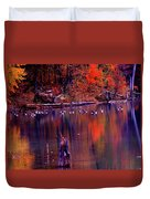 Fall Colors And Geese Duvet Cover