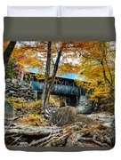 Fall Colors Over The Flume Gorge Covered Bridge Duvet Cover