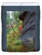 Fall Colors Peek Around Mountain Vertical Duvet Cover