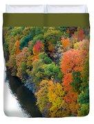 Fall Foliage In Hudson River 1 Duvet Cover