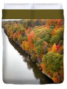 Fall Foliage In Hudson River 10 Duvet Cover
