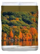 Fall Foliage In Hudson River 14 Duvet Cover