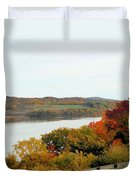 Fall Foliage In Hudson River 5 Duvet Cover