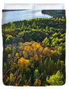 Fall Forest And Lake Top View Duvet Cover